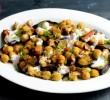 Жареные баклажаны по Турецки с пряным нутом и соусом из грецких орехов