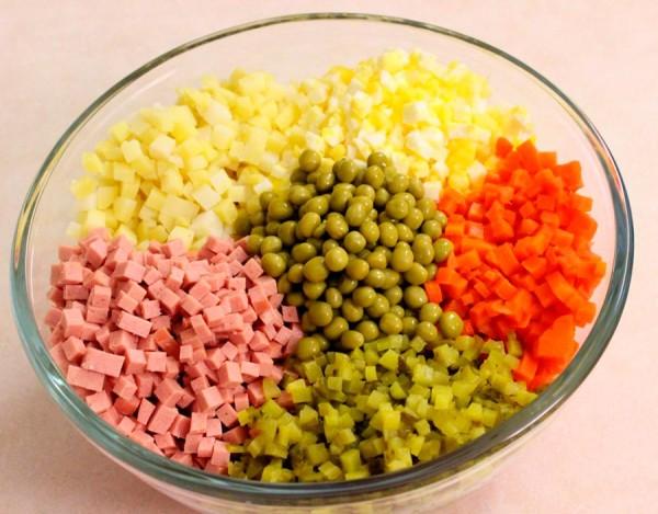 Компоненты для салата оливье