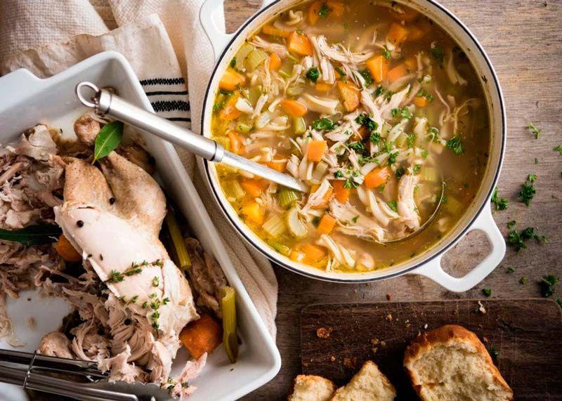 Классический домашний куриный суп с лапшой