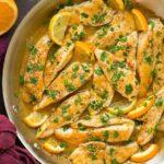 Курица в апельсиновом соусе с лимоном и чесноком